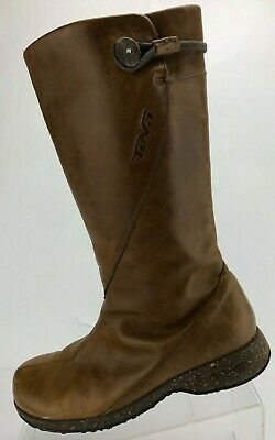 Teva Montecito Knee High Boots Comfy Brown Zip Leather Walking Shoes Womens US 8