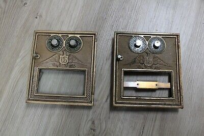 2 Antique Corbin large Brass Post Office Box Lettered  Combination Door eagle
