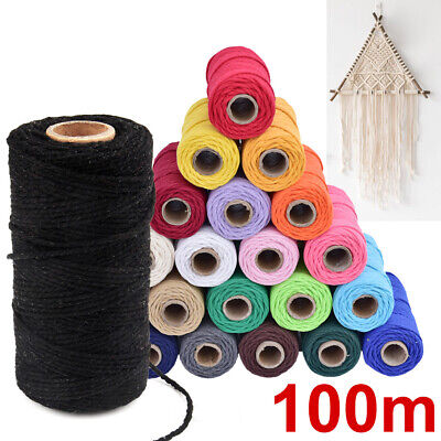 2MM Rustic Rope Cord String Hand Craft EU DIY Macrame Twisted Colorful Cotton