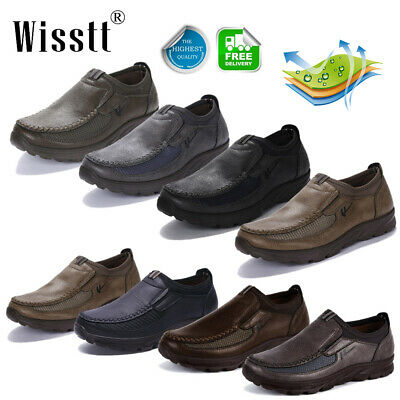 Mens Comfy Leather Casual Shoes Formal Work Nonslip Driving Loafers Moccasins US