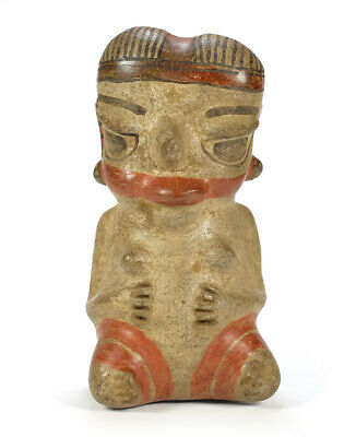 Ancient Pre-Columbian Pottery Polychrome Female Figure Costa Rica c. 800-1200 AD