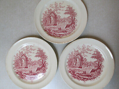 """3 Vintage HTF Taylor Smith English Abbey 9 1/4"""" Dinner Luncheon Plates Red"""