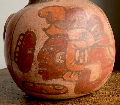Very Old Rare Pre-Columbian Large Mayan Pottery Head Bowl Vase Flower Pot Vessel