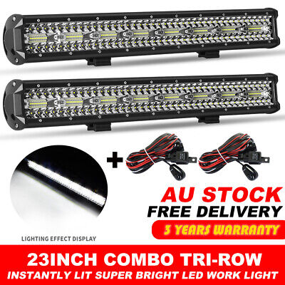 "2x 23inch TRI ROW CREE LED Work Light Bar Offroad ATV 4x4WD Truck 22/24"" +Wire"