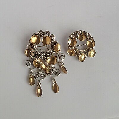 Norwegian 50's IVAR T. HOLTH & Chr.P Gilded Silver 830s Bunad Solje Brooches