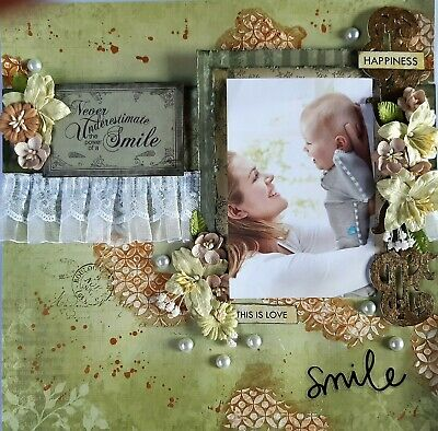 12 x 12 Handmade Scrapbook Page - Happiness