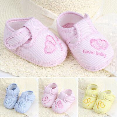 Infants Baby Slip On Non Skid Trainers Crib Breathable Bottom Embroidery Shoes