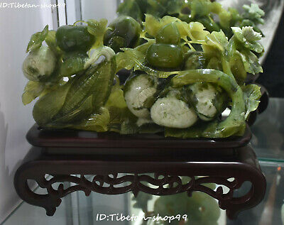 "15"" Rare Natural Green Jade Fengshui Corn Pomegranate Apple Fruit Gourd Statue"