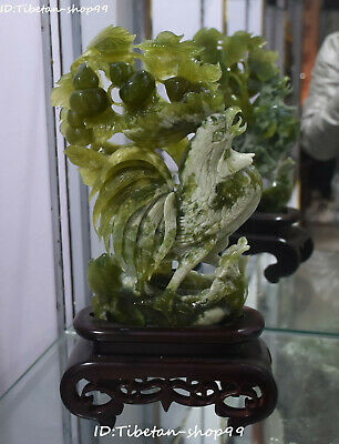 """16"""" Natural Green Jade Fengshui Zodiac Rooster Cock Chicken Animal Gourd Statue"""