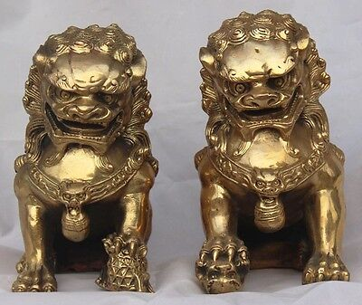 """6""""Chinese fengshui Brass Phylactery Door Guardian Foo Fu Dog Lion Pair Statue"""