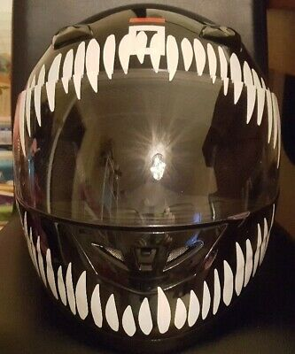 HELMET TEETH GRIN SMILE STICKERS DECALS MOTORCYCLE RACING WHITE OR COLOURS 125