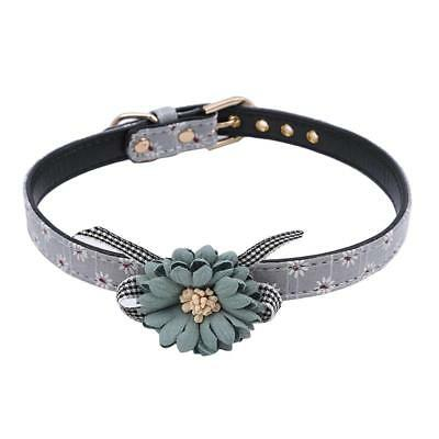 Pet Adjustable Flower Bow Dog Cat Collar PU Leather Leash  Chain For Pets Q
