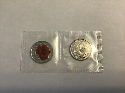 """25 cents CANADA 2015 REMEMBRANCE DAY """"POPPY""""  2 coin set."""