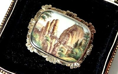Antique Victorian Solid 15ct gold Hand Painted Scene Brooch & fitted Case