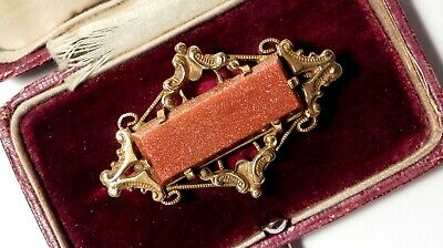 Antique Victorian Gold GOLDSTONE Brooch - Highly Detailed example £39.99!