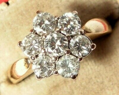 SUPERB Antique Art Deco 18ct Gold 1.00CARAT Diamond Daisy Vintage Ring