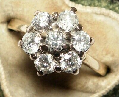 IMPRESSIVE Antique Art Deco 18ct Gold 1.00CARAT Diamond Daisy Vintage Ring