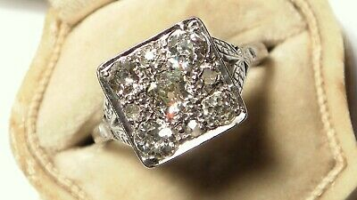 WOW Antique Art Deco 18ct White Gold 1.35CARAT OLD /ROSE Cut Diamond SQUARE Ring