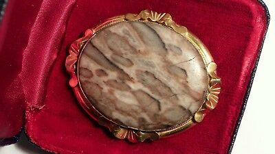 Antique Large Victorian Marble Agate Secret Hand Painted Romantic Brooch