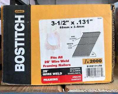 (BOX OF 2000) BOSTITCH S16D131-FH 28 Degree 3-1/2-Inch by .131-Inch Wire Weld