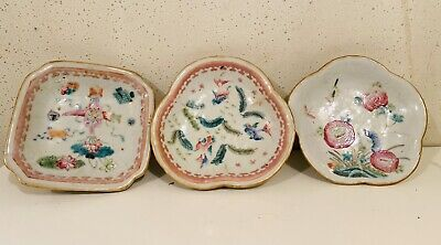Three Chinese Famille Rose Antique Porcelain Bowls