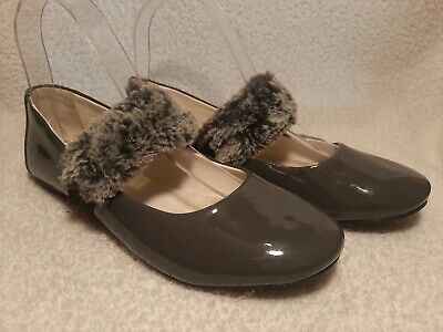 PRIMIGI Girls Sky Effect dark grey patent ballerinas faux fur strap UK 4 VGC+