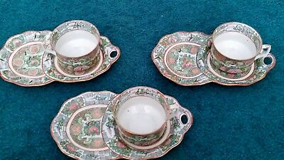 Chinese Export Antique Porcelain Famille Rose Tea Cup & saucer snack plate