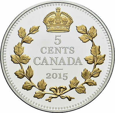 2015 Canada 5 Cent Fine Silver Coin - Legacy of the Nickel, Crossed Maple Boughs