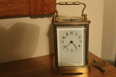 Very Heavy Repeater Brass Cased Carriage Clock Bevelled Glass Working Order