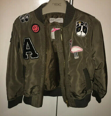 Little Girls Green H & M Bomber Jacket Size 1.5/2 Years