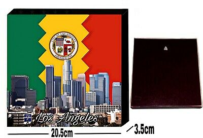 "Los Angeles California Skyline LA City Flag USA Square 8"" Canvas"