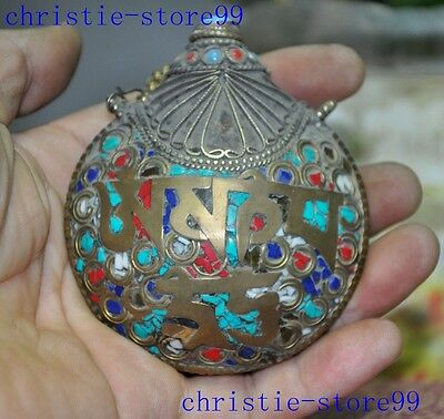 Collection old chinese Tibetan silver Turquoise coral shell snuff bottle statue