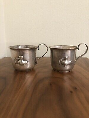 Set of 2 Vintage Silver Plate from Denmark Baby Cup with Duck