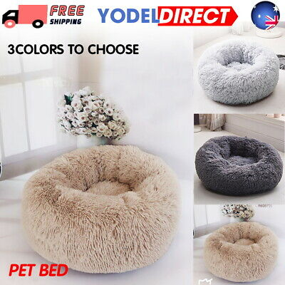 Large Pet Bed Luxury Shag Warm Fluffy Dog Puppy Kitten Fur Donut Cushion Mat UK