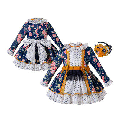 Flower Spanish Style Girl Blue Pleated Dress Matching Headpiece Party Pageant