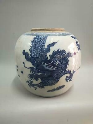 Exquisite Chinese Blue And White Porcelain Dragons Vases Hand-painted Bottle Pot
