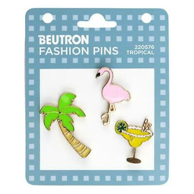Beutron Fashion Enamel Pins 3 pieces - Tropical, Brooch, Badge Scarf Pin