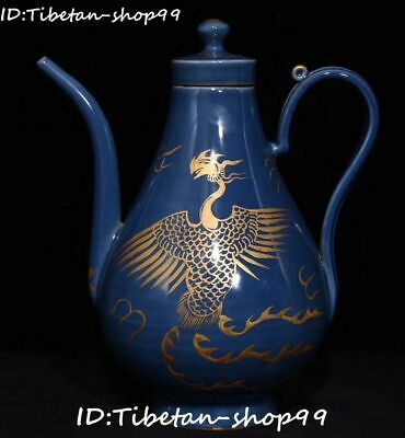 Unique Blue Glaze Porcelain Gold Phoenix Phenix Bird Wine Tea Pot Flagon Statue
