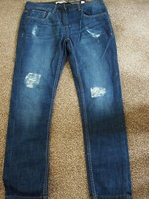 Bnwt Next Lovely Blue Slim Boyfit  Denim Jeans Distressed / Frayed Sz 10