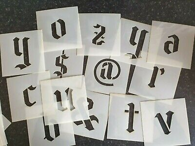BIG Alphabet Stencil Lower Case Gothic Font Letters / Numbers separate stencils