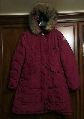 Moncler Arrious Parka Long Jacket Down Padded Hooded Fur Size 164 cm or 14 years