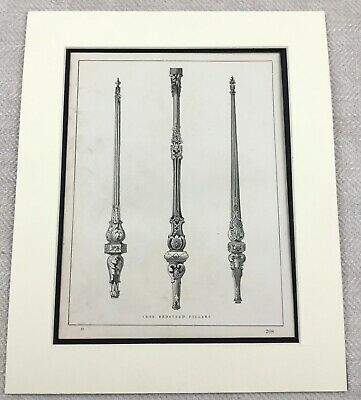 1859 Print Victorian Cast Iron Bed Post Pillar Decorative Original Antique