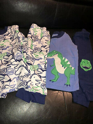 Lot 2 Carters PJs Pajamas 9M Dinosaurs Long Sleeve Great Used Condition