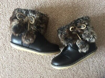 UK 8: Next, Girls Dark Brown / Black Ankle Boots, Faux Fur Trim Pom Poms, VGC