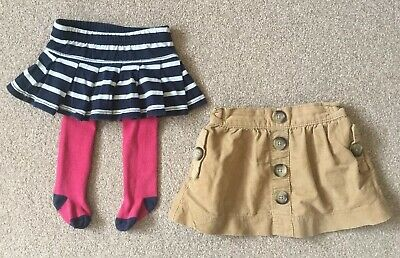 Age 9-12m: 2 x Next Girls Beige Cord Skirt & Gap Navy Stripe Skirt / Tights, VGC
