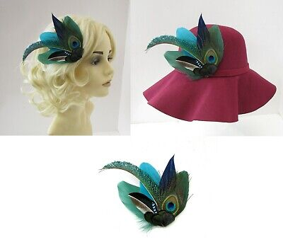 Peacock Feather Hat Pin or Fascinator Teal Dark Green Navy Blue Jay Brooch 7988