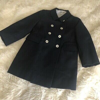 Vintage Navy Dress Coat Emily Jane Made In England Pure Wool  Age 3