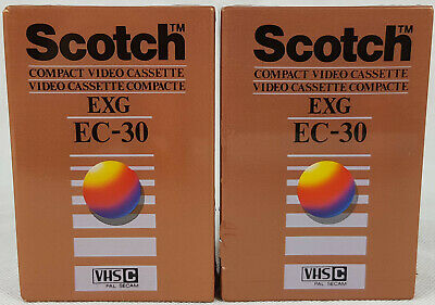 2 x Scotch EXG EC-30 Camcorder Compact Cassette Tapes, New & Sealed.