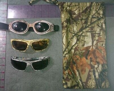 X3 LOT of Pugs Camo camouflage Sunglasses goggles shades hunting grey green
