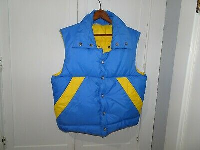 Vintage Sundance Products Men Down Blue Yellow Ski Jacket M Winter 70's Retro US